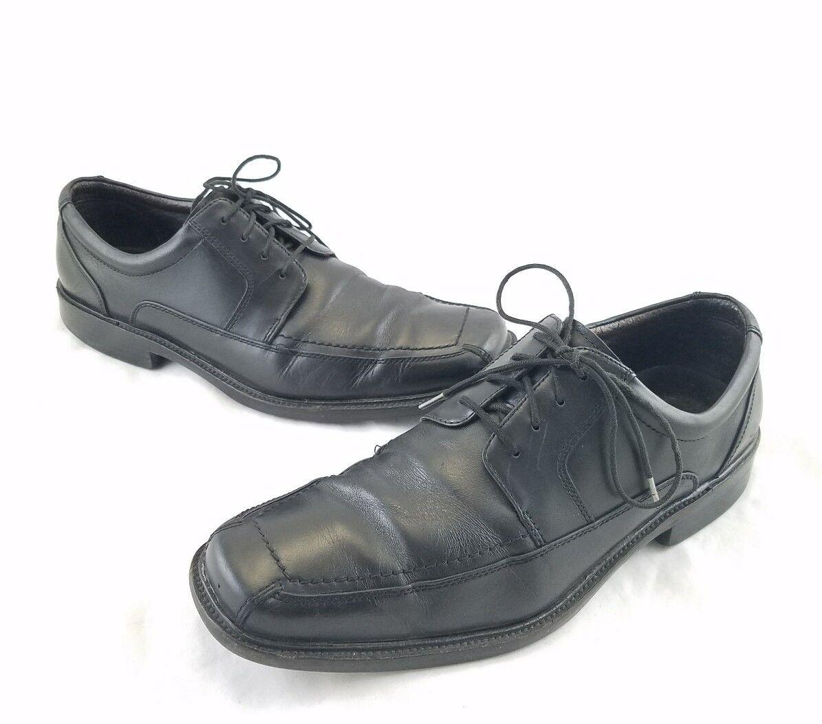 Johnston & Murphy Gambrill Black Leather Square Toe Oxfords 20-2161 Sz 10.5M C10