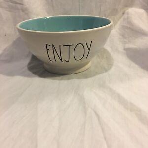 Rae-Dunn-ENJOY-Bowl-Artisan-Collection-by-Magenta-Farmhouse-Large-Letter-Blue