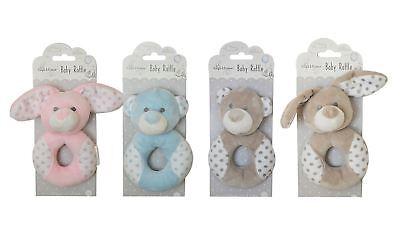 Enthusiastic Baby Girl Boy Rattle Pink Grey Blue Bunny Teddy Bear Soft Plush Newborn Babies