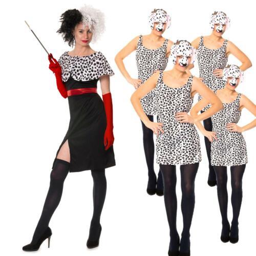 Cruella De Ville CHIEN LADY 101 dalmatian Perruque Gants Costume Robe Fantaisie Gant Perruque
