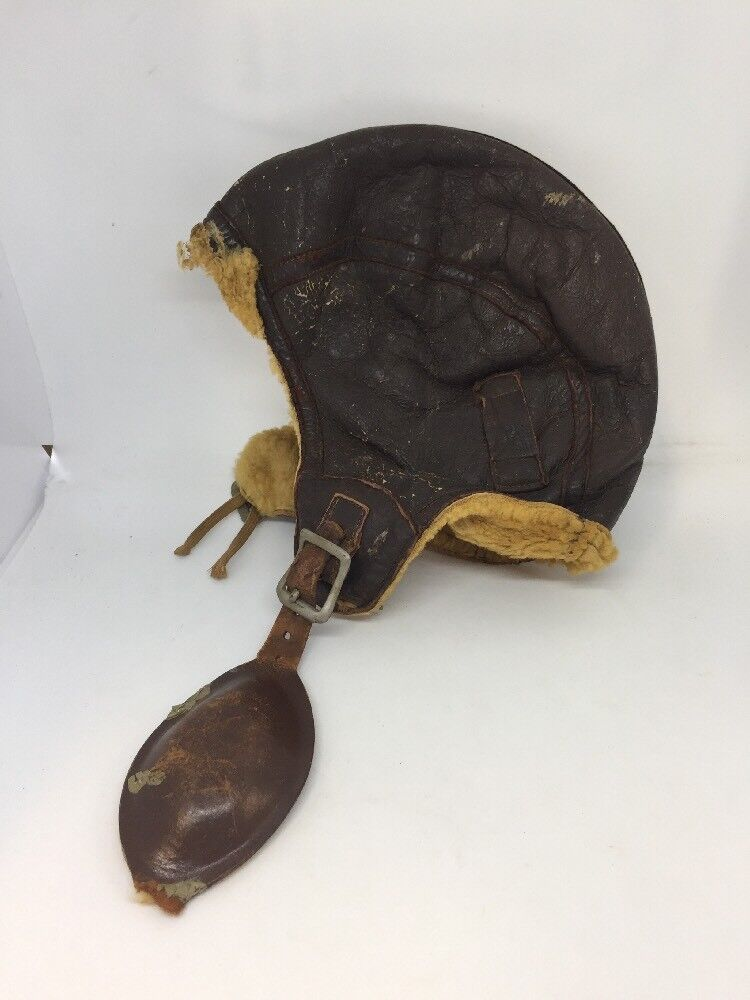 VTG 1940 WWII Fort Rucker Brown Leather Flight Helmet Sz S DISTRESSED SMALL