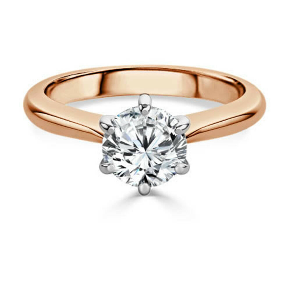 2.00 Ct. Diamond Round Cut 14K Solid pink gold Solitaire Rings Valentine's Gift