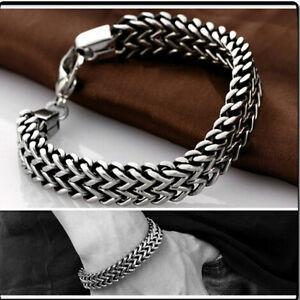 Hombre-Pulsera-Cadena-Brazalete-Acero-Inoxidable-Joyeria-Chain-Bracelet