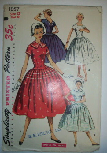 1950's? teenage fitted bodice full skirt dress unused pattern 1057 size 12