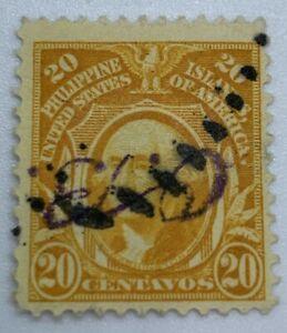 INVERTED HANDSTAMP OB ON 20C PHILIPPINES STAMP 1910's, OFFICIAL BUSINESS