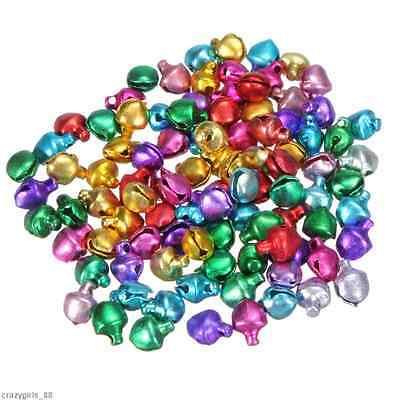 50Pcs Colorful Iron Beads Christmas Jingle Bells Pendants Charms Xmas DIY 8/6mm