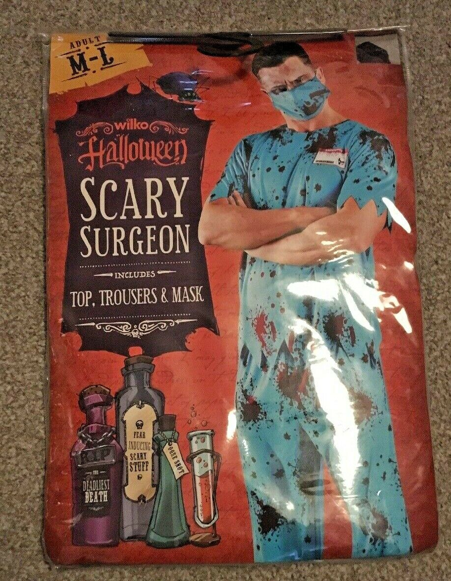 HALLOWEEN MENS SCARY SURGEON M-L BNIW INCLUDES TOP TROUSERS & MASK PARTY