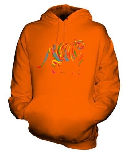 SCRIBBLE TIGER UNISEX HOODIE TOP GIFT COLOURFUL JUNGLE