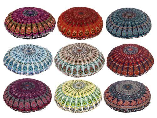 "Large 32/""  Floor Mandala  Pillow Cushion Indian Round Bohemian Throw Pouf Cover"