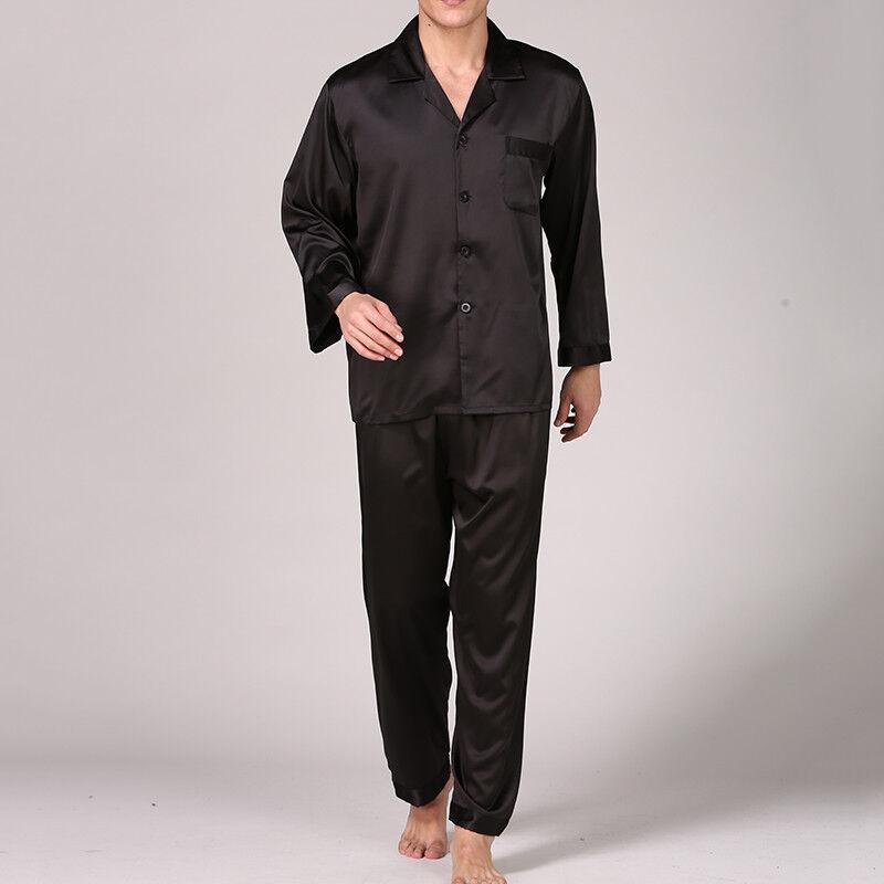Hommes Satin Pyjama Ensemble Chemise Manches Longues + + Longues Pantalon VêteHommes ts de 487cc5