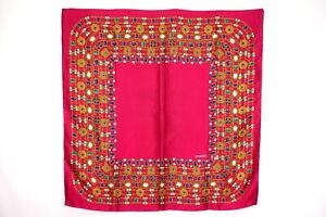 CHANEL-85-cm-Large-Scarf-100-Silk-Coco-Mark-CC-Logo-Jewelry-pattern-Red-3731k