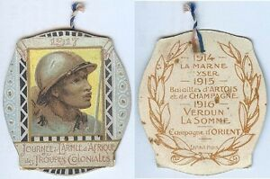 Insigne-de-journees-1914-1918-Journee-armee-d-039-Afrique-tirailleur-senegalais-Mo