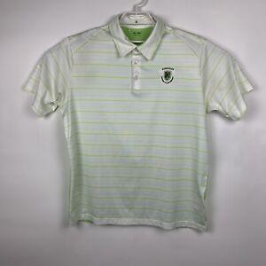 Adidas-ClimaCool-Mens-White-Striped-Short-Sleeve-Golf-Polo-Shirt-Size-Large