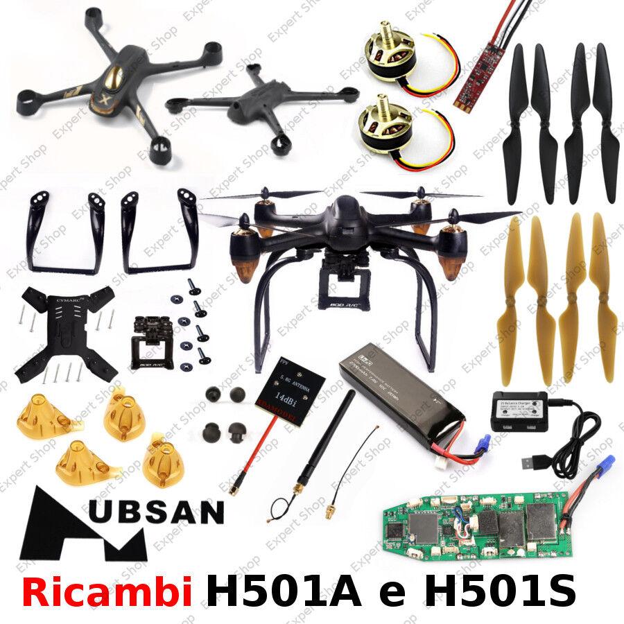 Ricambi DRONE HUBSAN H501S e H501A piedini eliche batterie adat. gopro da ITALIA