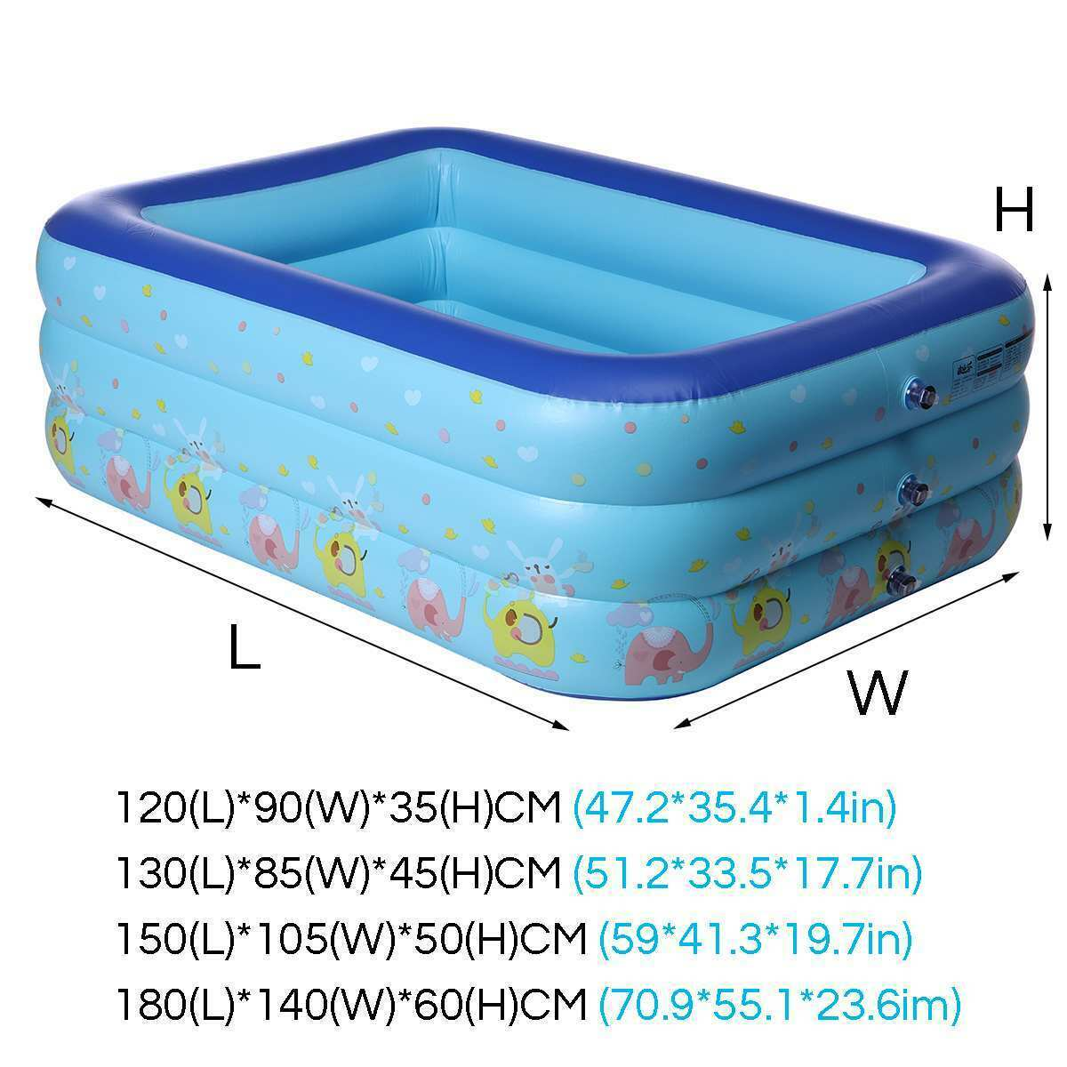 120-180cm Inflatable Swimming Pool Square Kids Children's Use Paddling Pool