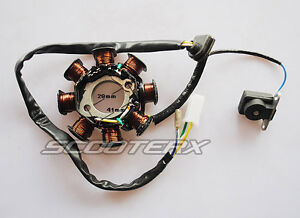 Details about Chinese Scooter GY6 150cc 8 Pole 8 Coil Magneto Stator  Charging System 8 Pole