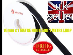 PS14 Autoadhesivo Velcro ® Hook /& Loop Sujetador de cinta adhesiva con respaldo 16mm x1 metros