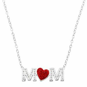 """Crystaluxe Mom Red Heart Necklace with Swarovski Crystals, Sterling Silver, 17"""""""