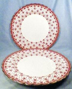 Image is loading 2-Spode-Fleur-de-Lys-Dinner-Plates-Y7481- & 2 Spode Fleur de Lys Dinner Plates Y7481 Red Bone China Gold Trim ...