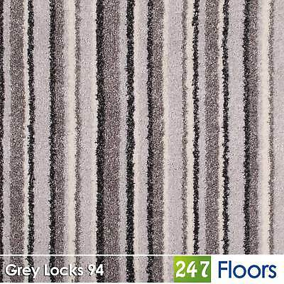 Grey Locks 94 Noble Saxony Striped Carpet Feltback Actionback 9.5mm Pile 4m