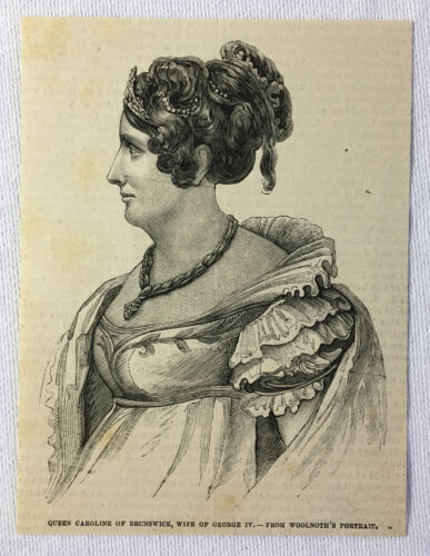 1880 magazine engraving QUEEN CAROLINE of Brunswick