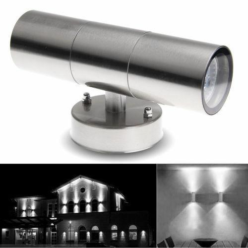 2x en acier inoxydable Up Down Wall Light GU10 IP65 Double Outdoor WALL LIGHTS