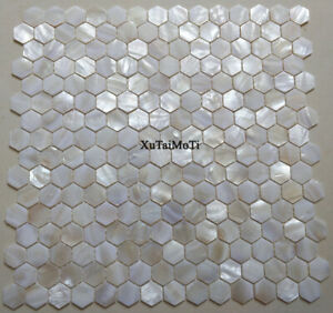 Details About White Hexagon Shell Mosaic Tile Mother Of Pearl Kitchen Backsplash Wall
