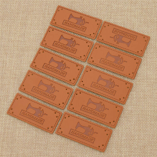 50 Pcs Handmade Labels Tags for Clothes Garment PU Leather Sewing Accessories