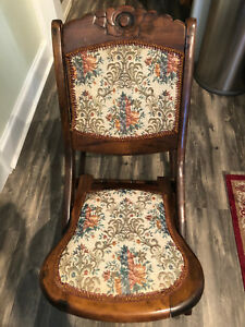 Amazing Details About Victorian Embroidered Folding Rocking Chair Antique Circa 1880 19Th Century Pdpeps Interior Chair Design Pdpepsorg