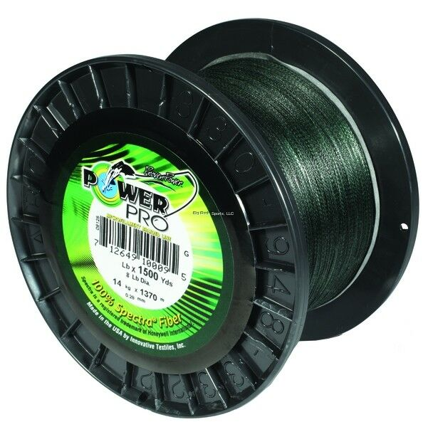 NEW  Power Pro Spectra Fiber Braided Fishing Line, Moss Green, 1500 21100201500E