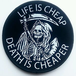 Life-Is-Cheap-Patch-Death-Reaper-Doom-Occult-Symbolism-Afterlife-Skeleton-Skull