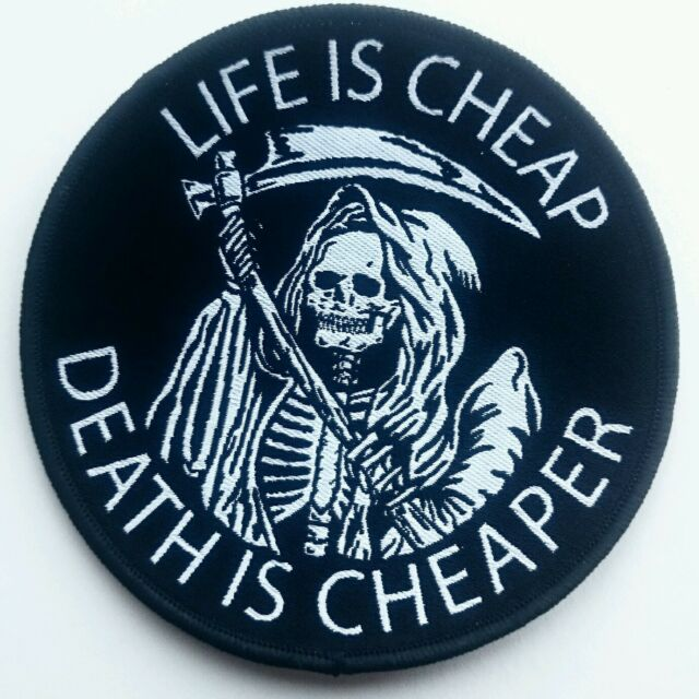 Life Is Cheap Patch Death Reaper Doom Occult Symbolism Afterlife Skeleton Skull