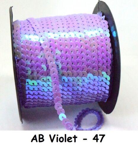 57 COLOURS 6mm Sequin Trim 1M 2M 5M 10M String Round Sequins Sewing Craft Dance