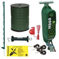 Electric Fence Kit - 12v Hotline Mb60 - 20 X 3ft Posts & 20mm Tape - Green