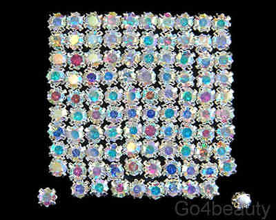 Selections of Sew On Clear AB Crystal Diamante Rhinestones (Silver Rose Montee)