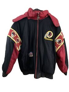 Mens-Large-Pro-Player-Vintage-Winter-Jacket-Reversible-Washington-Redskins-NFL