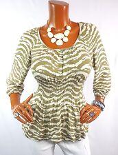 MICHAEL KORS Womens Top M Summer Tunic Shirt Olive Tan Animal Stretch 3/4 Sleeve
