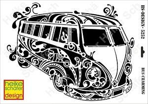 Schablone-Stencil-A3-417-5252-Bus-Charming-Neu-Heike-Schaefer-Design