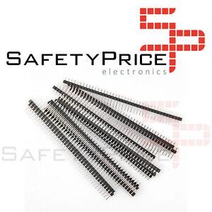 5x-TIRA-PINES-MACHO-simple-1x40-pines-negro-row-male-soldar-Arduino-40-pines