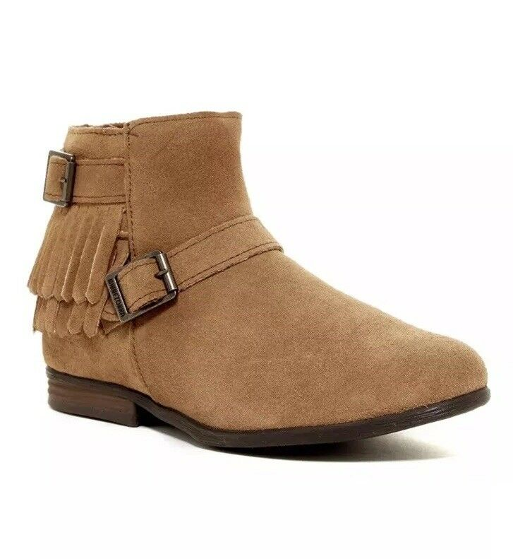NEW MINNETONKA RANCHO TAUPE ANKLE BOOTIES BOOTS  WOMENS SIZE 6