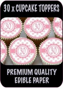 30x Happy 30th Birthday Pink Cupcake Toppers Edible Wafer Fairy Cake Toppers