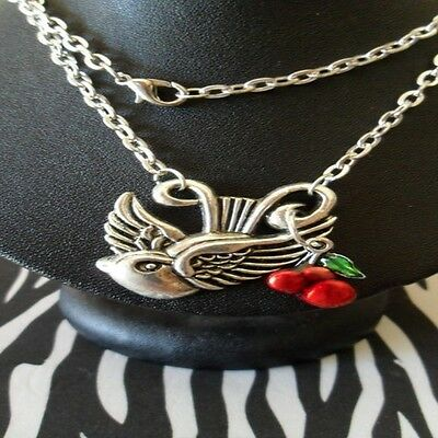 SEXY KITSCH ROCKABILLY PINUP TATTOO SWALLOW & CHERRY NECKLACE