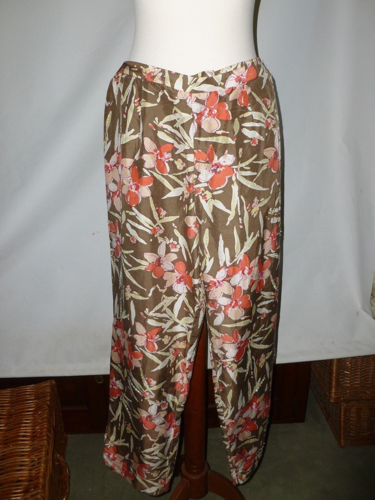 PAPELL PETITES PURE SILK  TROUSERS Größe UK 14P  NEW