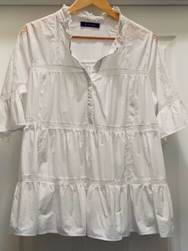 Tetelee Babydoll White Panel Bell Sleeve Lace & Ru