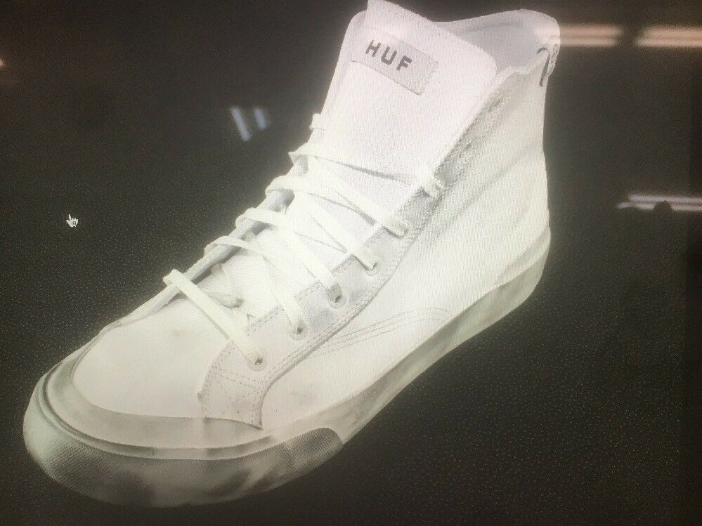 Huf Classic Hi White Leather shoes Sneakers VCPS006 Size 10.5, 11, 13. - NIB