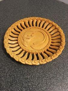 Vintage-Wood-Hand-Carved-Pierced-Real-Wood-Carved-Plate-8-3-8-In-Diameter-RAR