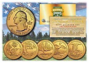 2018-America-The-Beautiful-24K-GOLD-PLATED-Quarters-Parks-5-Coin-Set-w-Capsules