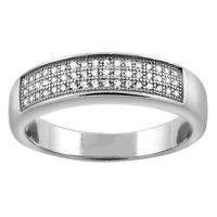 Sterling Silver Micro Pave Cubic Zirconia Men's Wedding Band, 3/16 Inch Wide