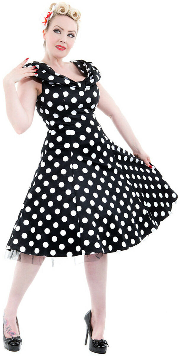 Hearts & rosas Punti Polka Dots retrò sottoveste Carmen ABITO DRESS Rockabilly