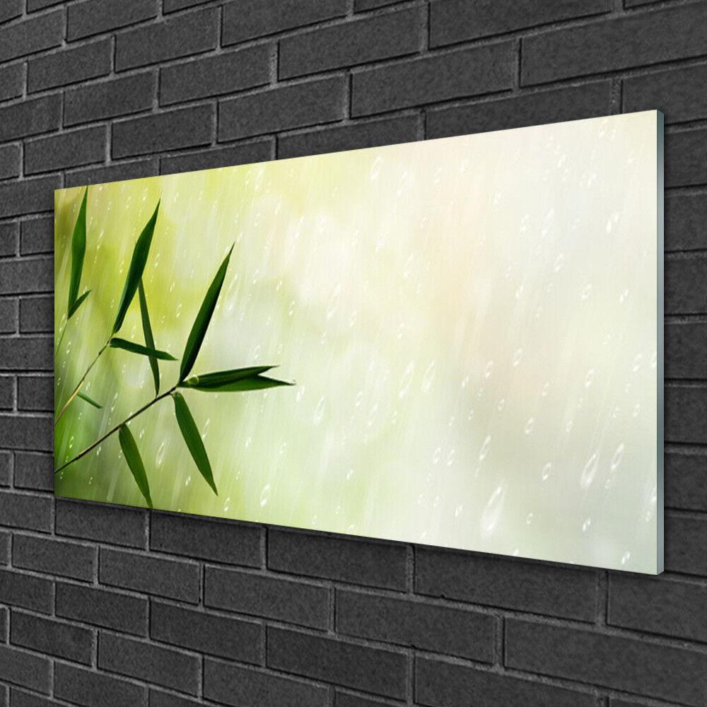 Image sur verre Tableau Impression 100x50 Floral Feuilles Pluie